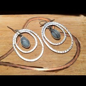 Silver-Tone Gray Stone Free People Earrings